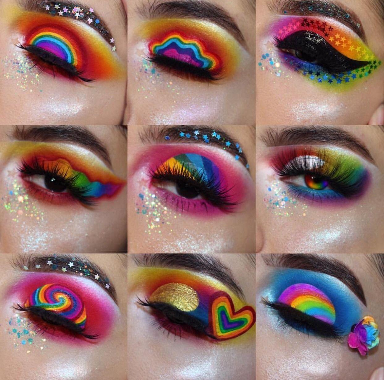 Rainbow Eye Look Rainbow Eyeshadow Makeup Eye Makeup Designs