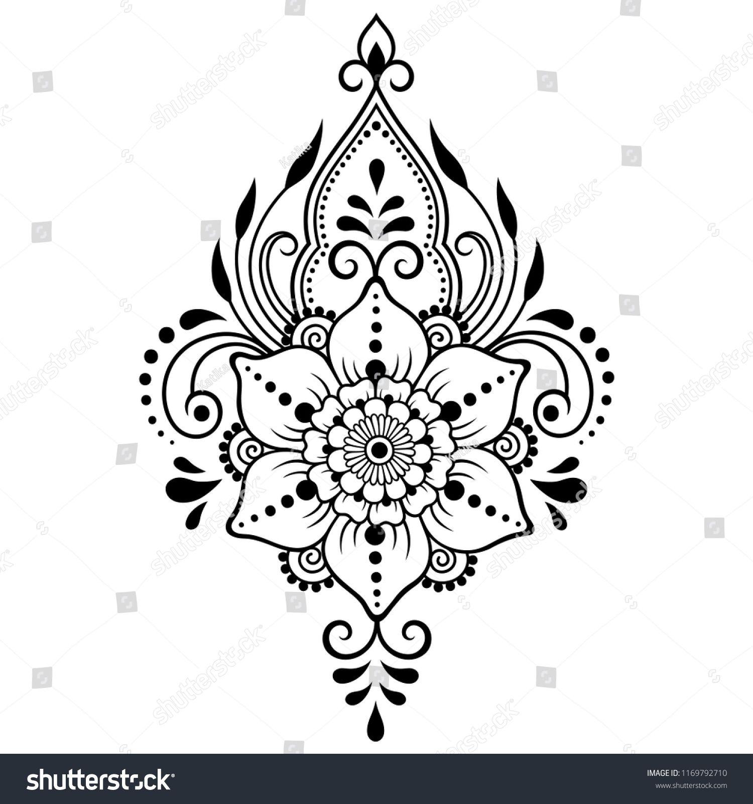 Стоковая векторная графика «Mehndi Flower Pattern Henna Drawing Tattoo» (без лицензионных платежей), 1169792710