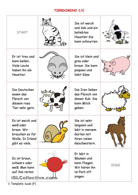 Tierdomino 1/2 | Deutsch, Schule und Vorschulübungen