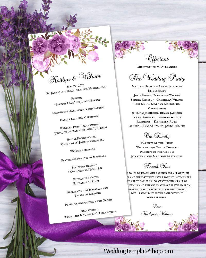 Diy Purple Wedding Program Templates Double Sided Program You