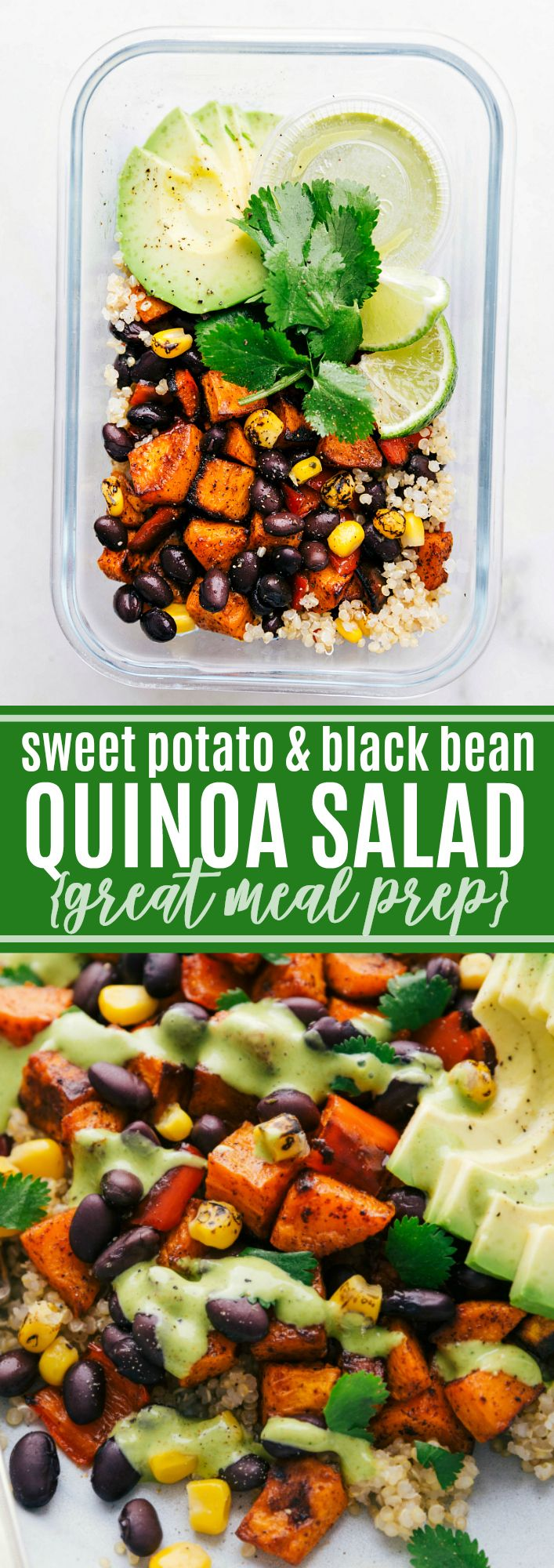 A quinoa black bean salad with roasted sweet potatoes, black beans, corn, red bell pepper, and a de