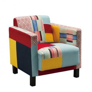 Fauteuil Original En Tissu Patchwork Fauteuil Confortable Coloré Et - Fauteuils colores