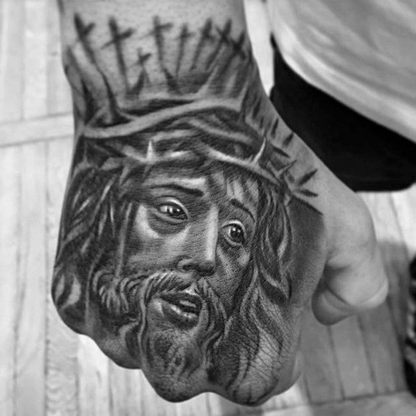 76fec86ef Cool Shadow Cross With Crown Of Thorns Mens Jesus Christian Hand Tattoo