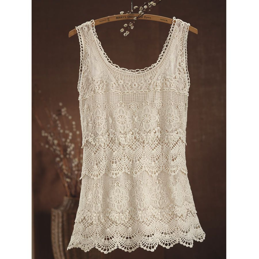Vintage Inspired Crocheted Lace Tank - Women's Clothing, Jewelry, Fashion Accessories and Gifts for Women with a Flair of the Outdoors | NorthStyle