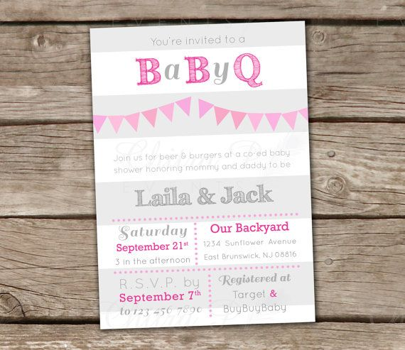 baby q shower invitations - printed, pink grey white girl bbq, Baby shower invitations