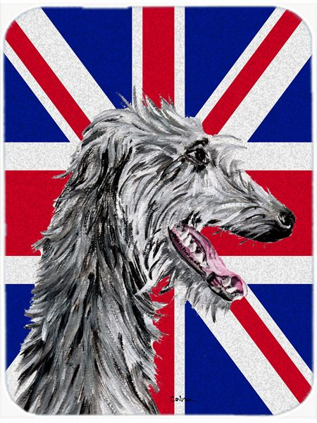 Scottish Deerhound with English Union Jack British Flag Mouse Pad - Hot Pad or Trivet SC9871MP #artwork #artworks