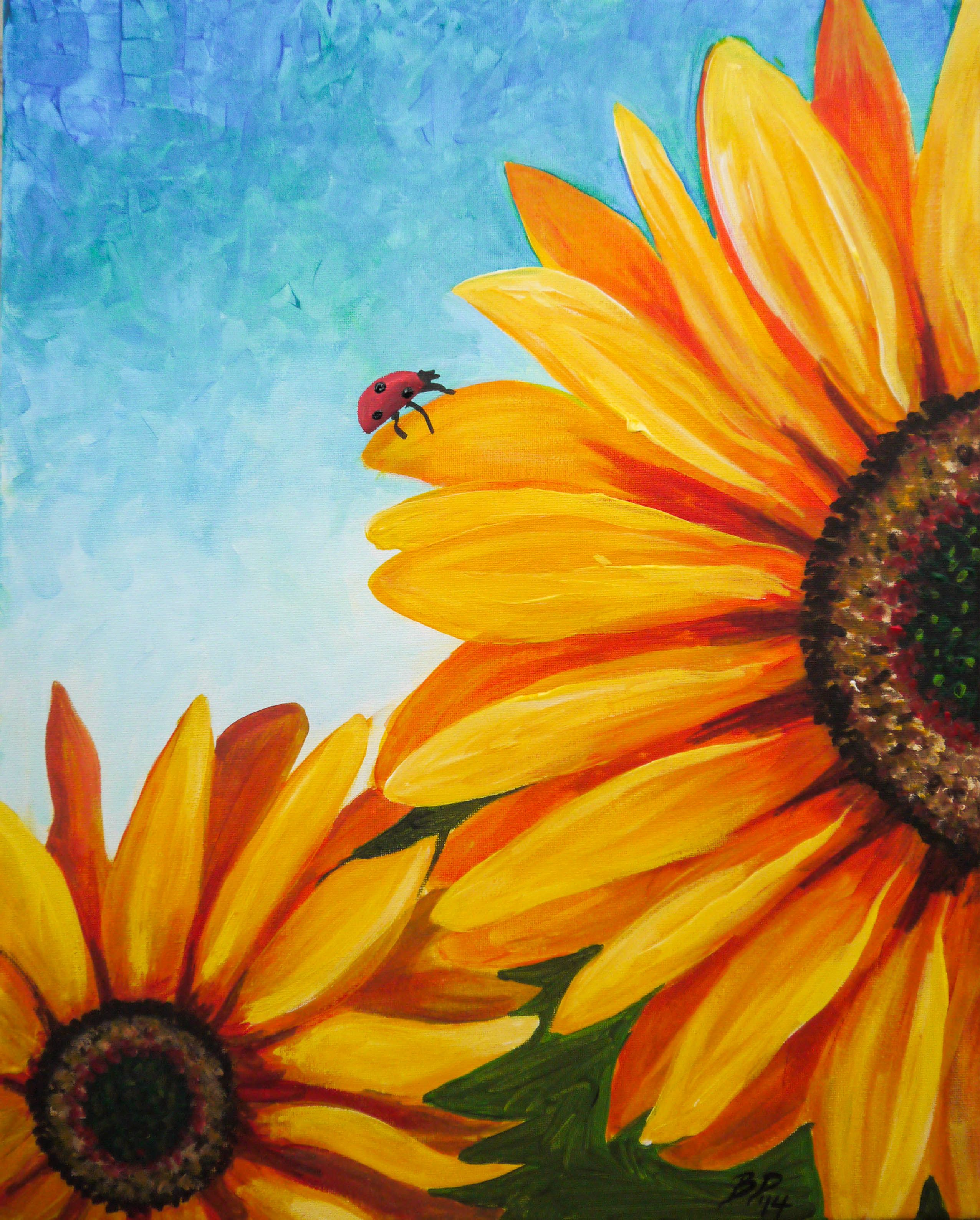 sunflowers original by cocktails 39 n canvas local artist