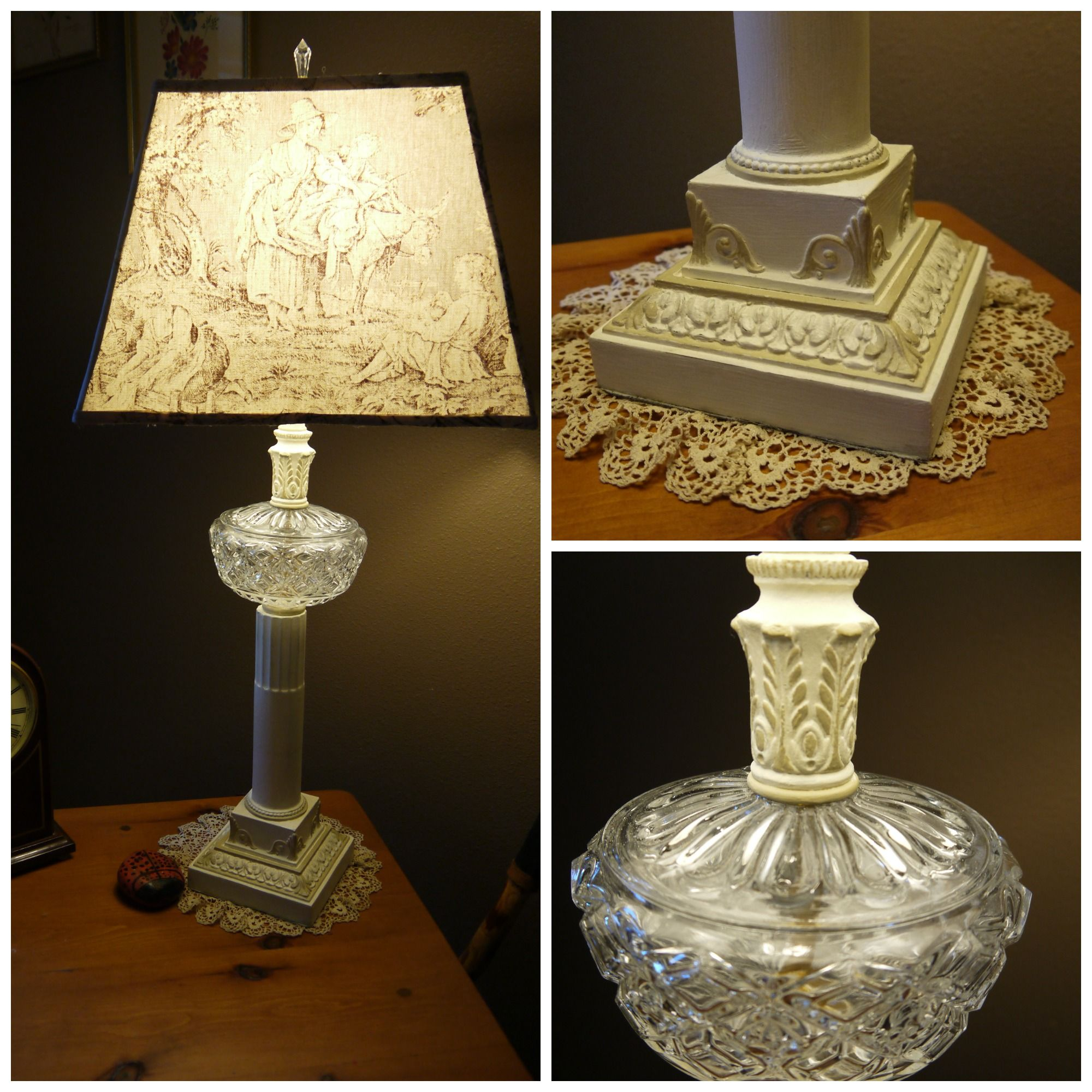 The Paint Factory Vintage Table Lamp Painted Chandelier Fabric Lampshade