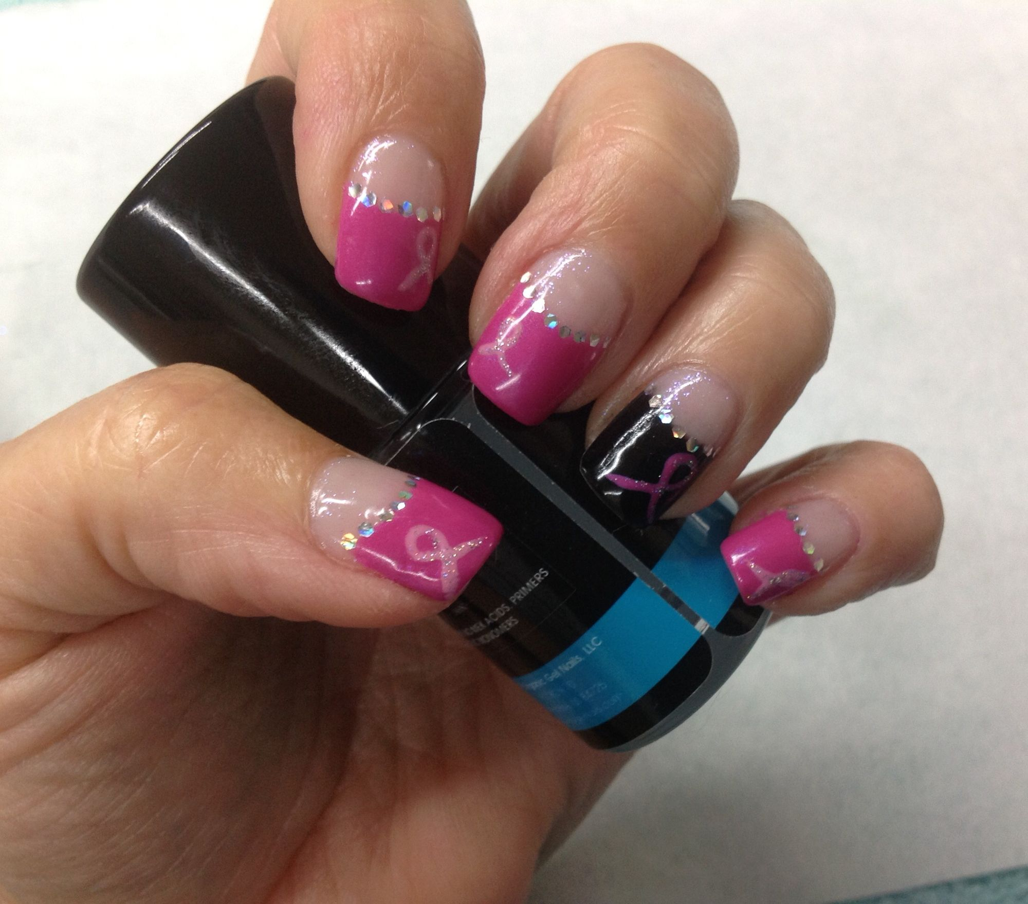Pink Ribbon pink & Black High French over iridescent background gel ...