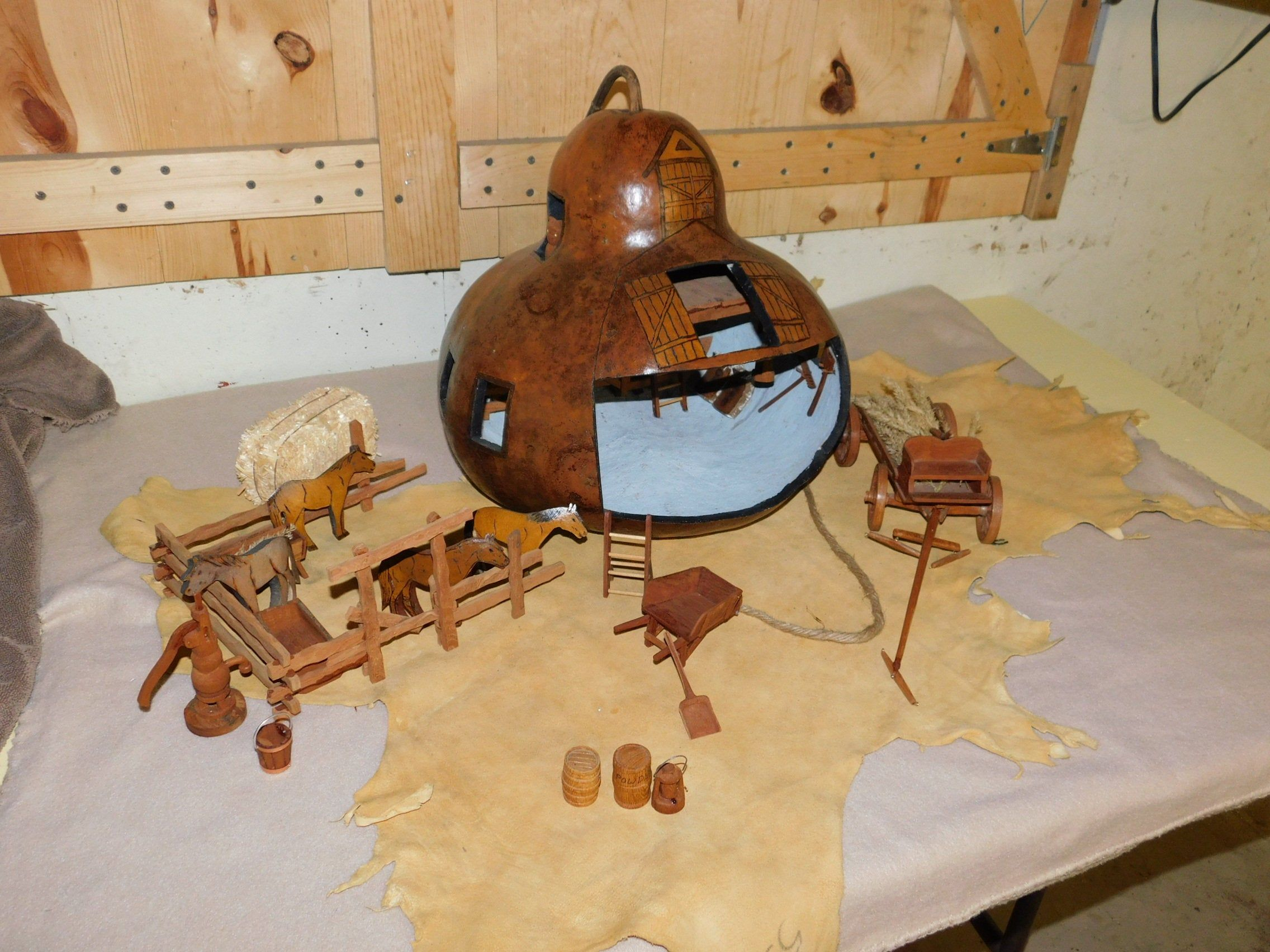 Country Western Gourd Art & Hand Carved Barnyard Ranch Scene Barn Loft Stalls Horses Corral Old West Farm Wagon Hand Water Pump Tools OOAK #gypsysetup