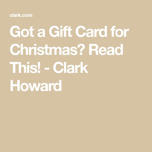Got A Gift Card For Christmas? Read This!