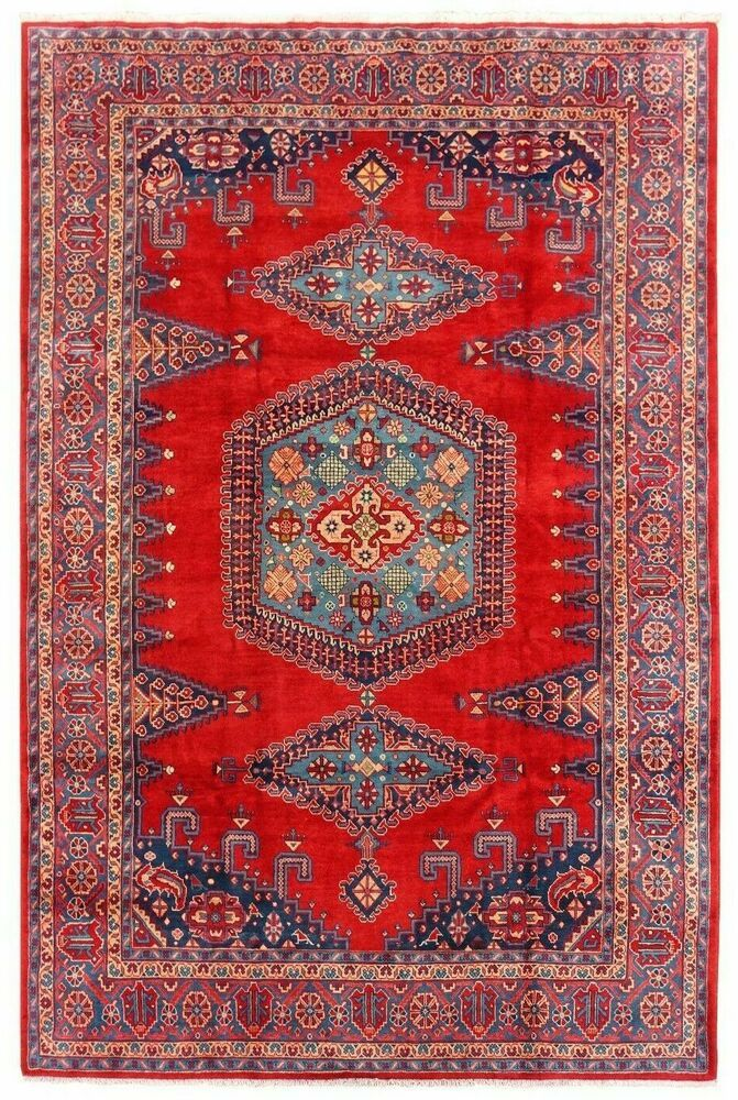 Hand Knotted Nomadic Oriental Rug Wool Red Blue Tribal Viss Carpet 8 6 X 12 1 Persianviss Persianvissgeometricmedallion In 2020 Oriental Rug Oriental Carpets Rugs