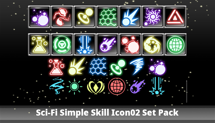 SciFi Simple Skill Icon02 Set Pack Simple icon, Game