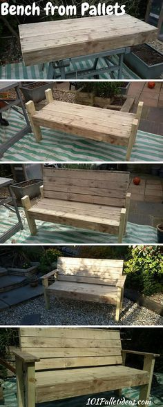 DIY Pallet Wood Bench - Tutorial - 100% Reclaimed Pallets ...