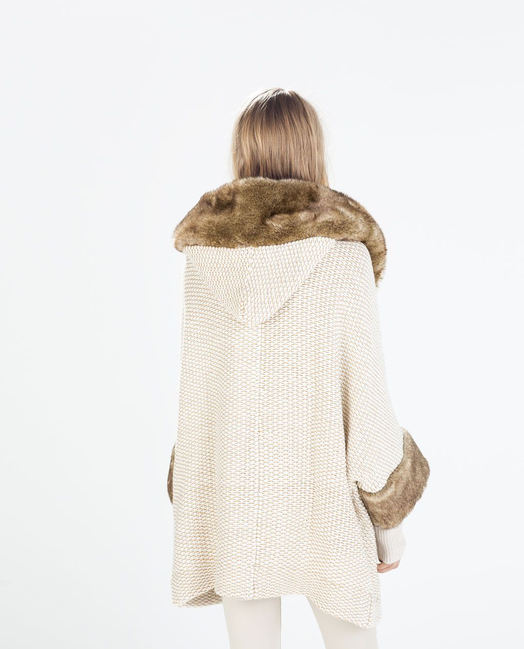 Image 1 of FUR JACKET WITH HOOD from Zara