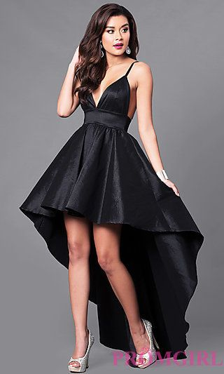0d5c36a67ba Black High-Low V-Neck Prom Dress with Empire-Waist in 2019