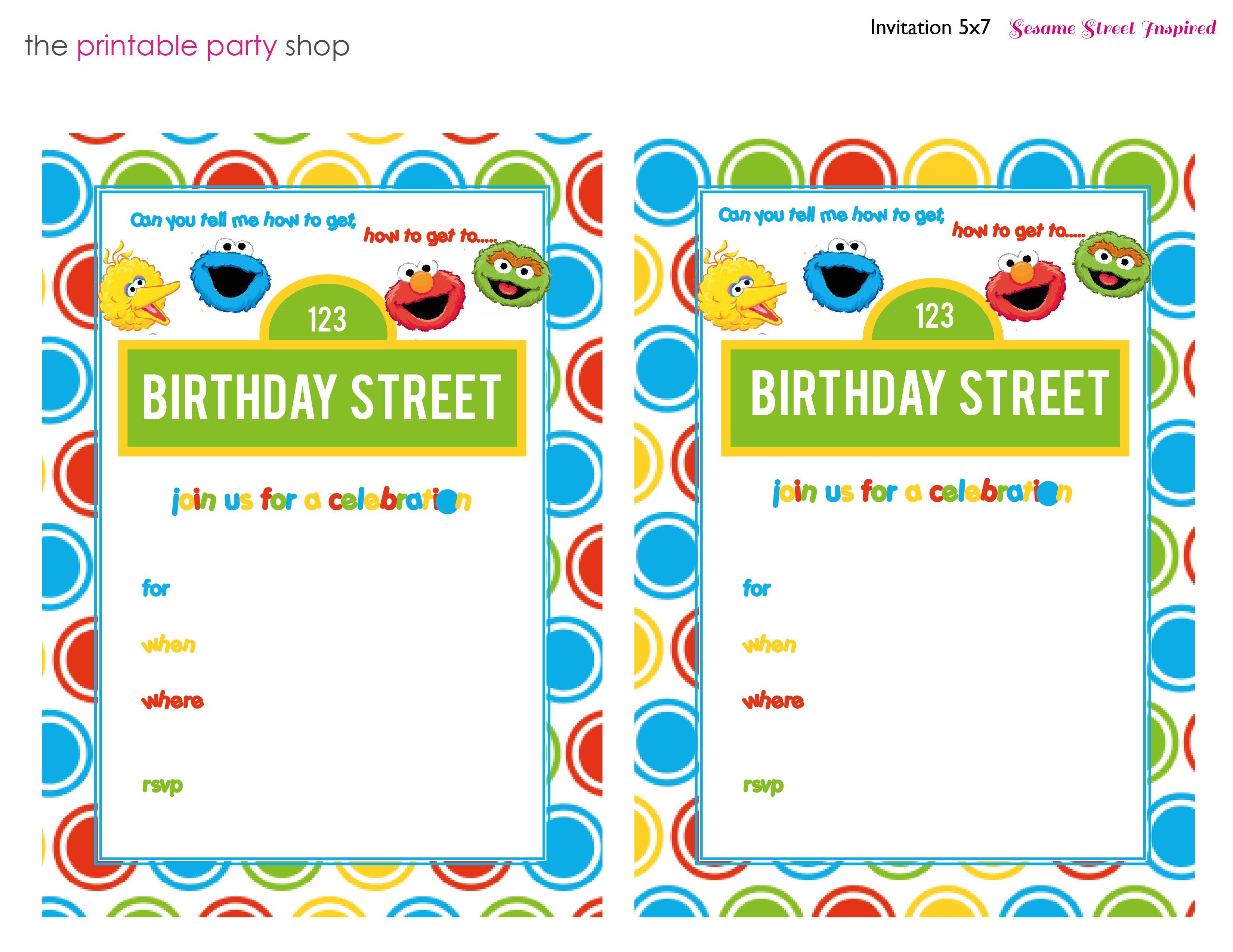 Free printable sesame street 1st birthday invitations