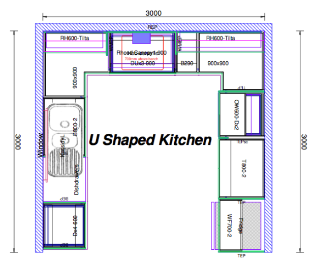 U shaped kitchen design layout Kitchen design lesson plans