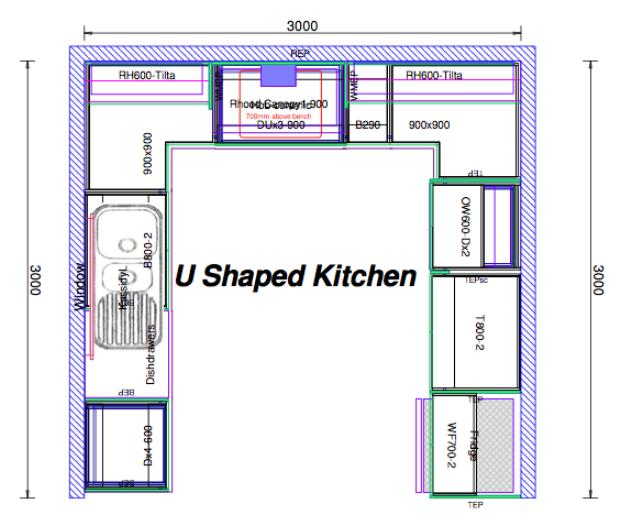 U Shaped Kitchen With Island Floor Plan: U Shaped Kitchen Layout Ideas