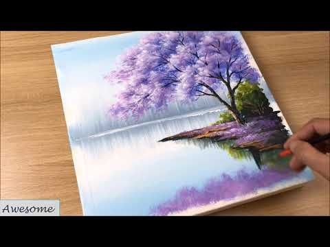 Acrylic Painting / How to Paint Blue Jacaranda Tree / Follow the link for full video