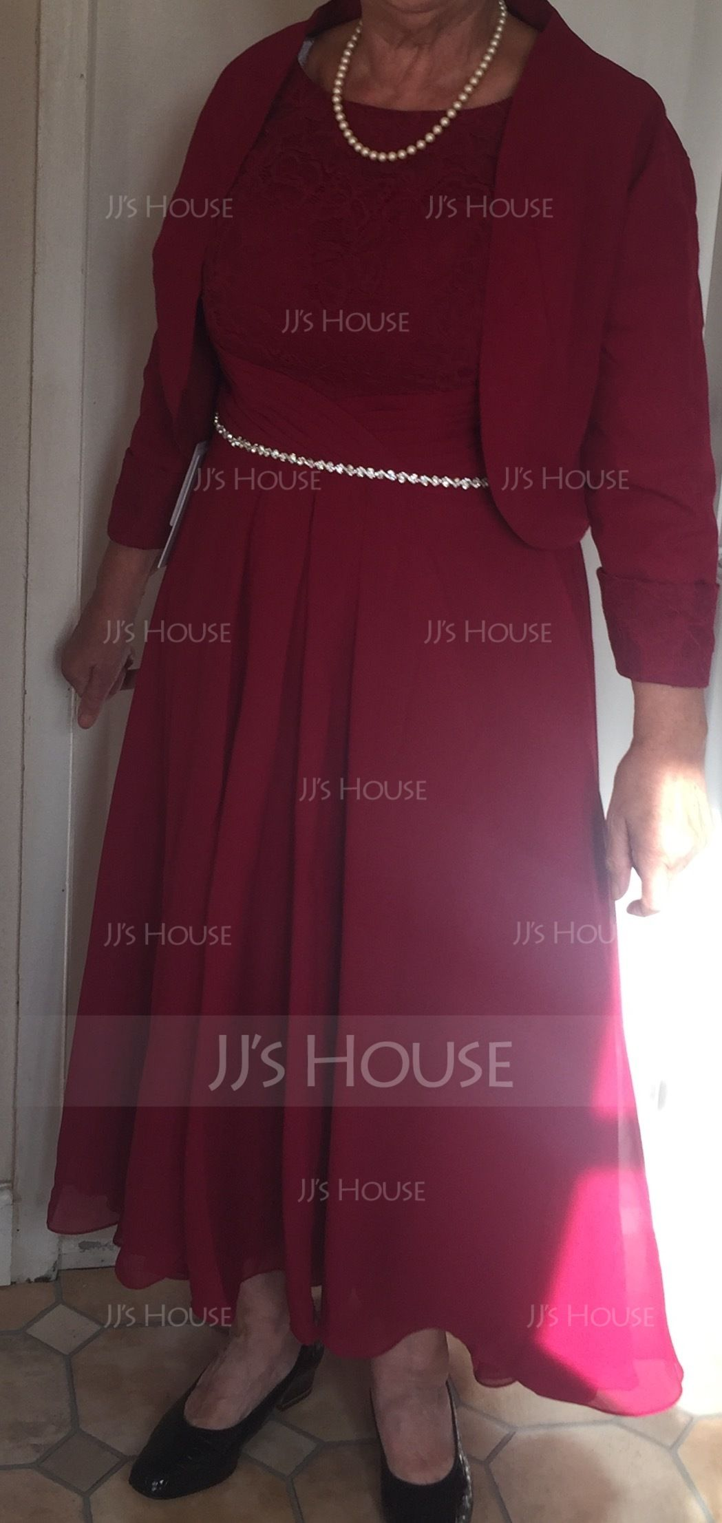 aa3ba3871f7 A-Line Princess Scoop Neck Asymmetrical Chiffon Lace Mother of the Bride  Dress With Beading (008118940) - Mother of the Bride Dresses - JJ s House