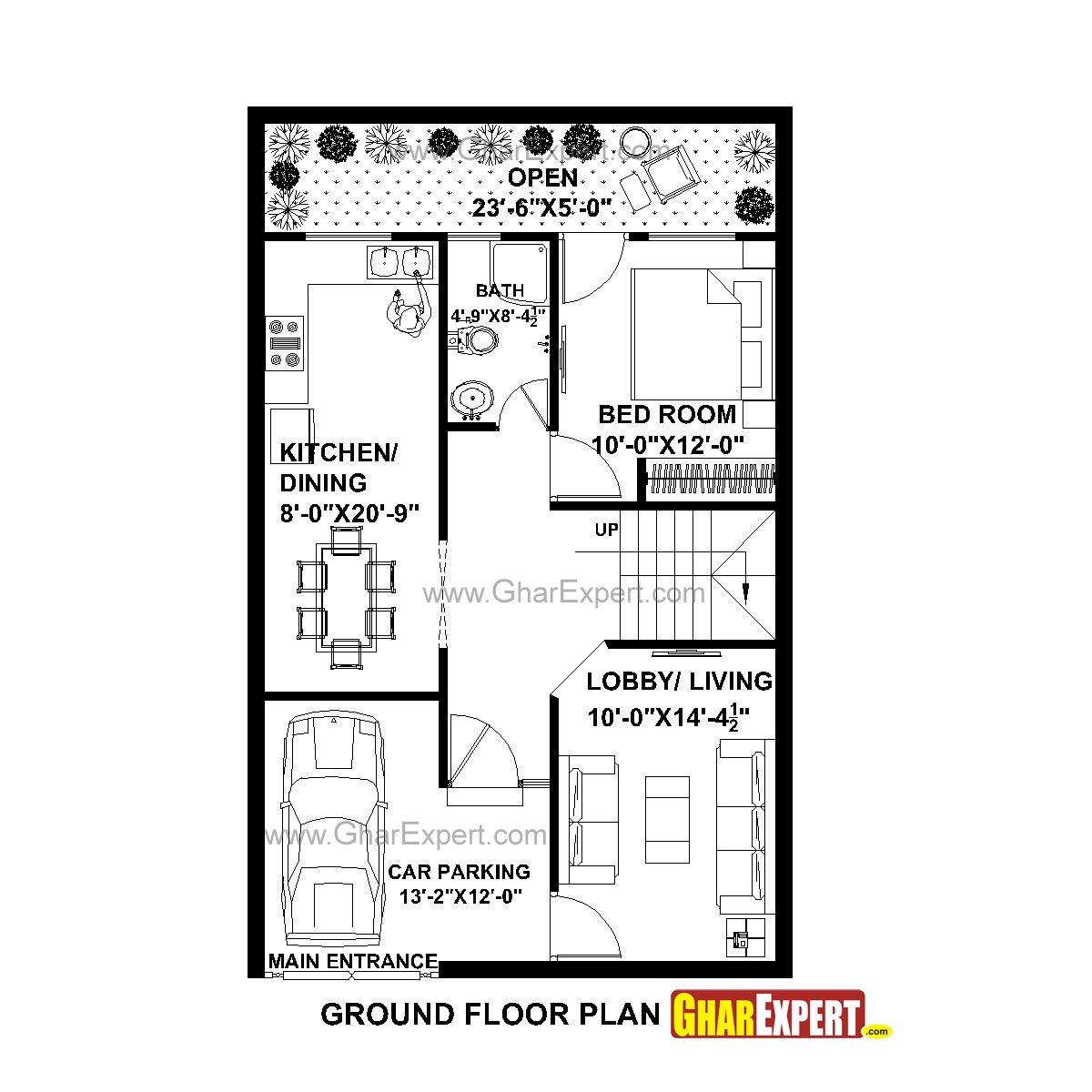 House Plan For 25 Feet By 40 Plot Size 111 Square Yards