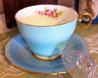 Vintage Aynsley Teacup Teal with Flowers and by BrooksideVintage