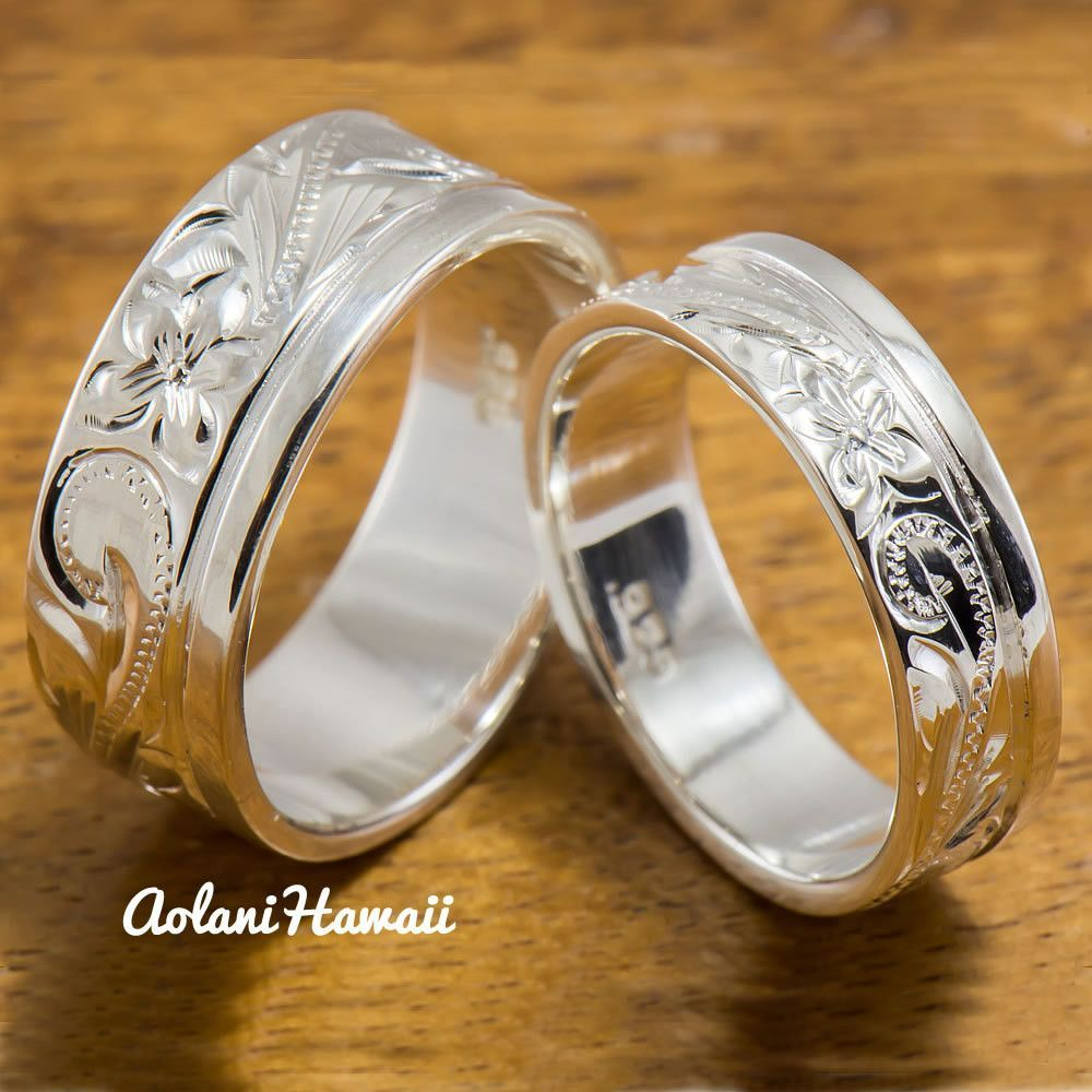 Silver Wedding Ring Set Of Traditional Hawaiian Hand Engraved Sterling Flat Rings 8mm 6mm Width