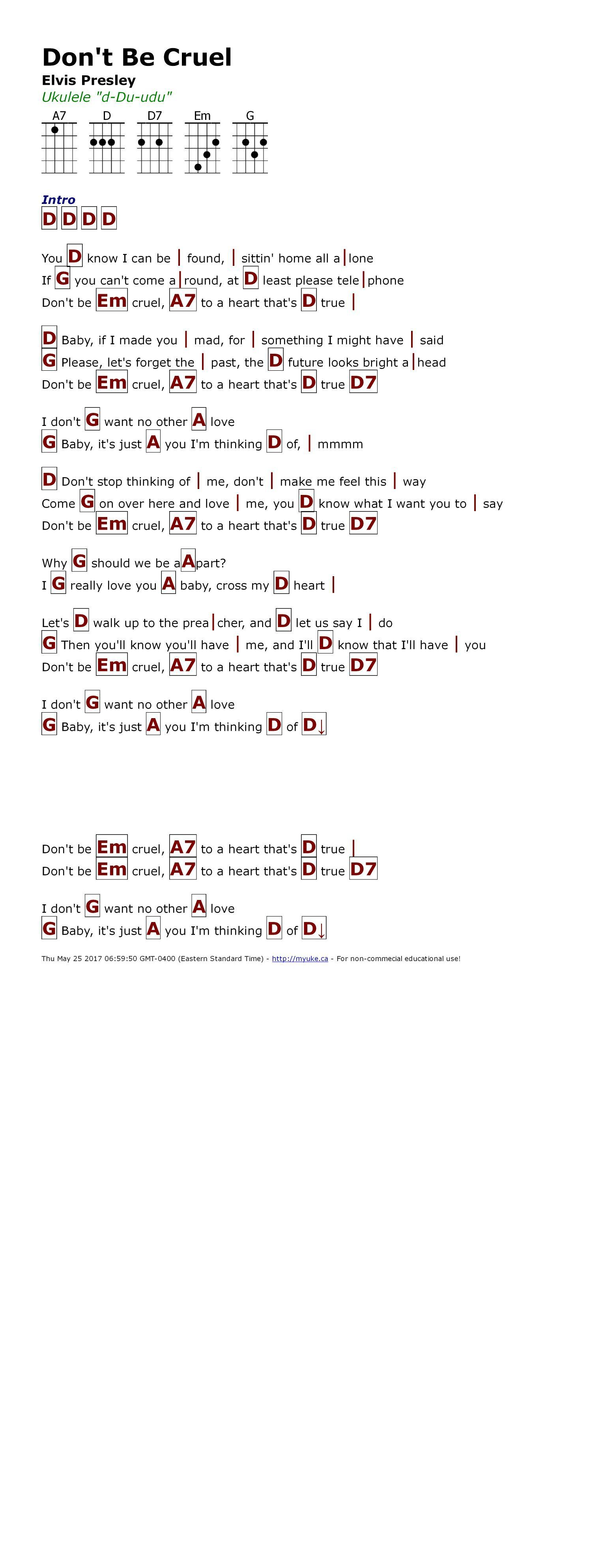Don T Be Cruel Elvis Presley Http Myuke Ca Ukulele Songs Ukulele Chords Songs Ukelele Chords Songs