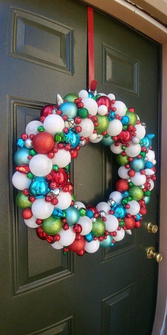 Gorgeous Red, White, Silver, Teal Blue, and Lime Green Ornament Christmas Wreath! Bauble wreath! Holiday Wreath!