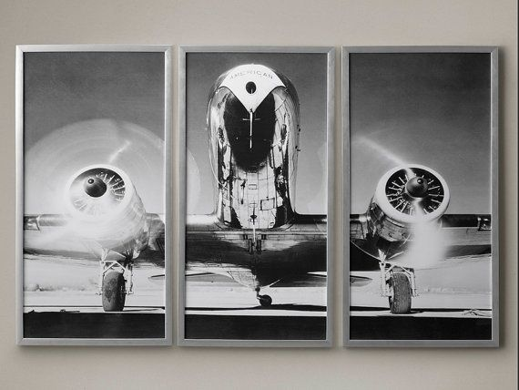 Airplane triptych literally been flying off our shelves since weve launched this gorgeous triptych backorder · vintage airplanestriptychphoto blackblack