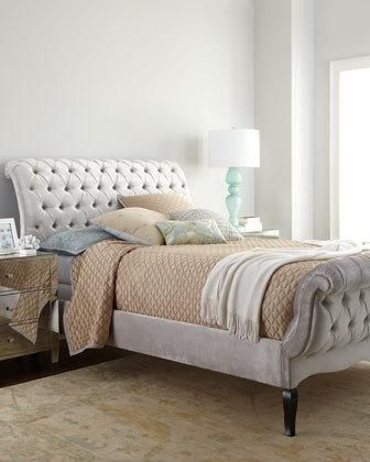 2WQY Haute House Silver Tufted Queen Bed Silver Tufted King Bed ...