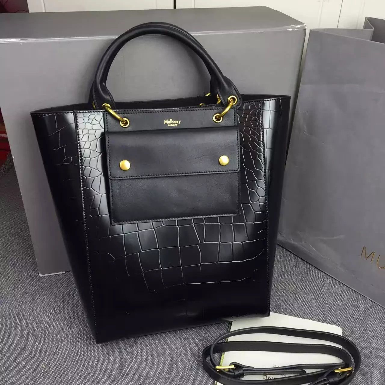 ef7c86c5a9fb New Edition!2016 Mulberry Handbags Collection Outlet UK-Mulberry Maple  Black Polished Embossed Croc