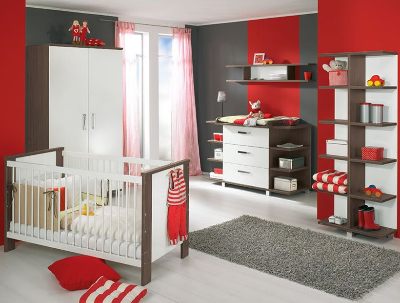 Amazing Baby Nursery Themes Design For Baby Girls And Boys White Nursery Black Red Wall Modern Baby Room Baby Room Furniture Baby Nursery Furniture Sets