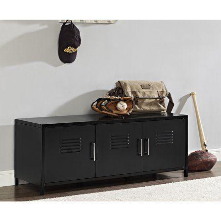 48 Inch Metal Locker Style Storage Bench   Black