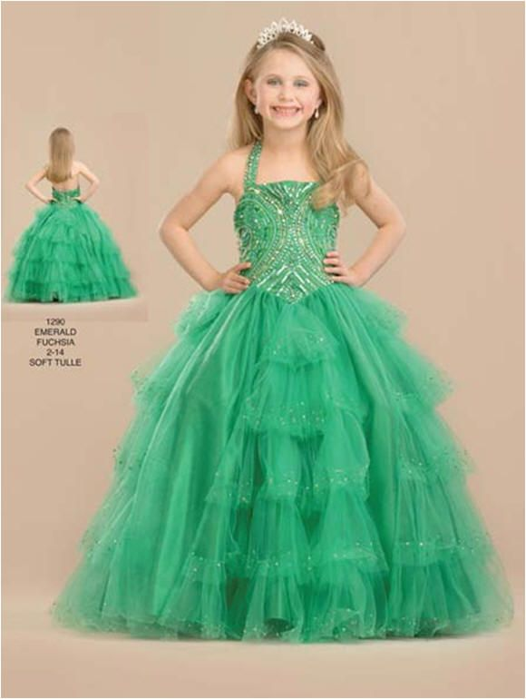 Gowns for 10 Year Olds | tiered green halter pageant dress | dress\'s ...