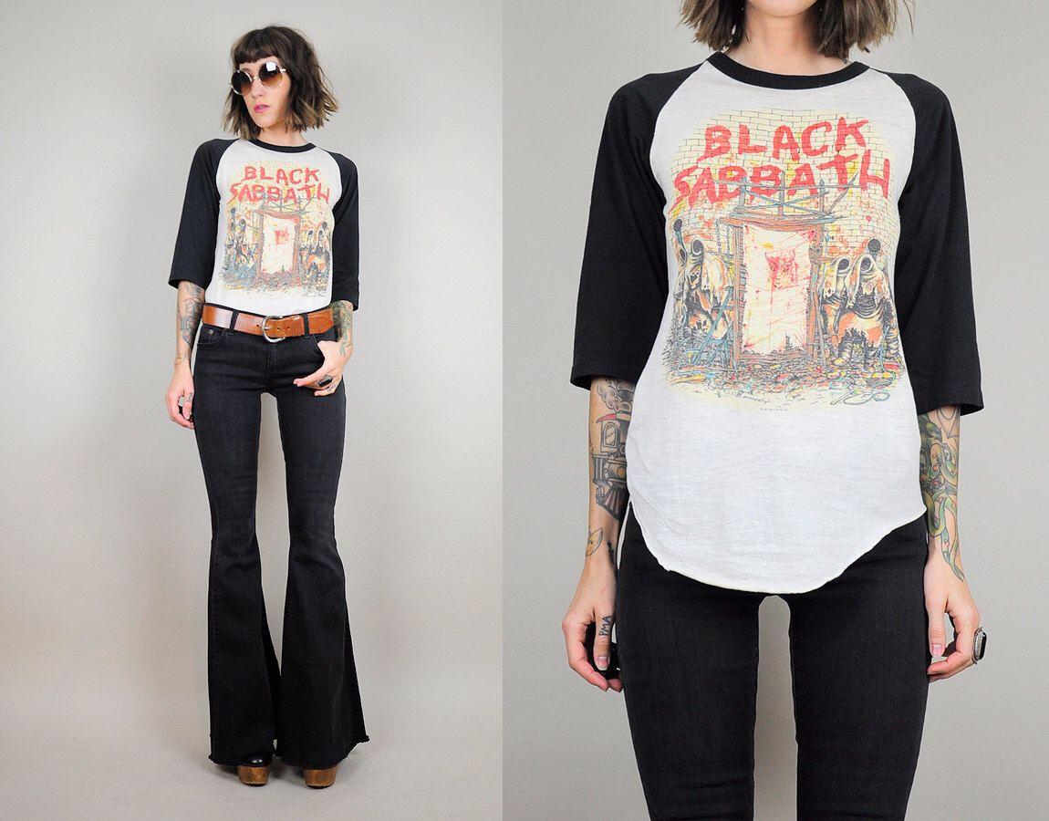 Black sabbath t shirt etsy - Black Sabbath Vtg 80 S Paper Thin Baseball T Shirt Mob Rules Concert Tee Graphic Novelty Heavy Metal Faded Xs Small