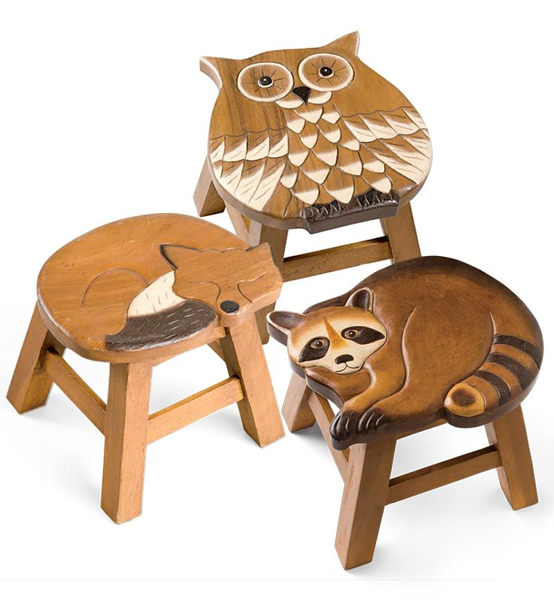 Pleasing Hand Carved Wooden Stools Owl Fox And Raccoon Wooden Ncnpc Chair Design For Home Ncnpcorg