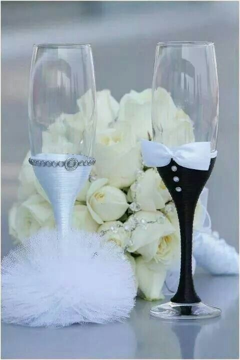 Such a cute idea, but may need to change the grooms glass to a chilled beer mug