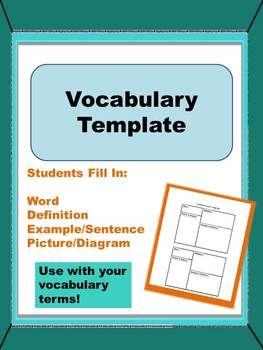 Vocabulary Terms Template For Journaling