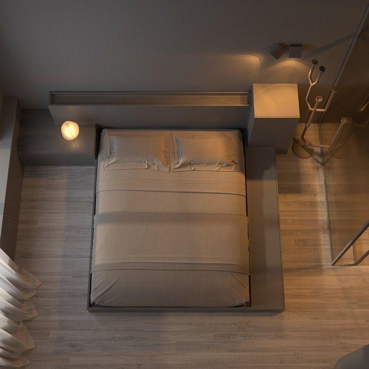 peinture grise lit deux places design et rev tement de sol en parquet fonc bricolage. Black Bedroom Furniture Sets. Home Design Ideas
