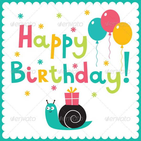 Happy birthday card happy birthday cards vector graphics and buy happy birthday card by lattesmile on graphicriver happy birthday vector card with a snail vector eps file and high resolution jpeg included bookmarktalkfo Image collections