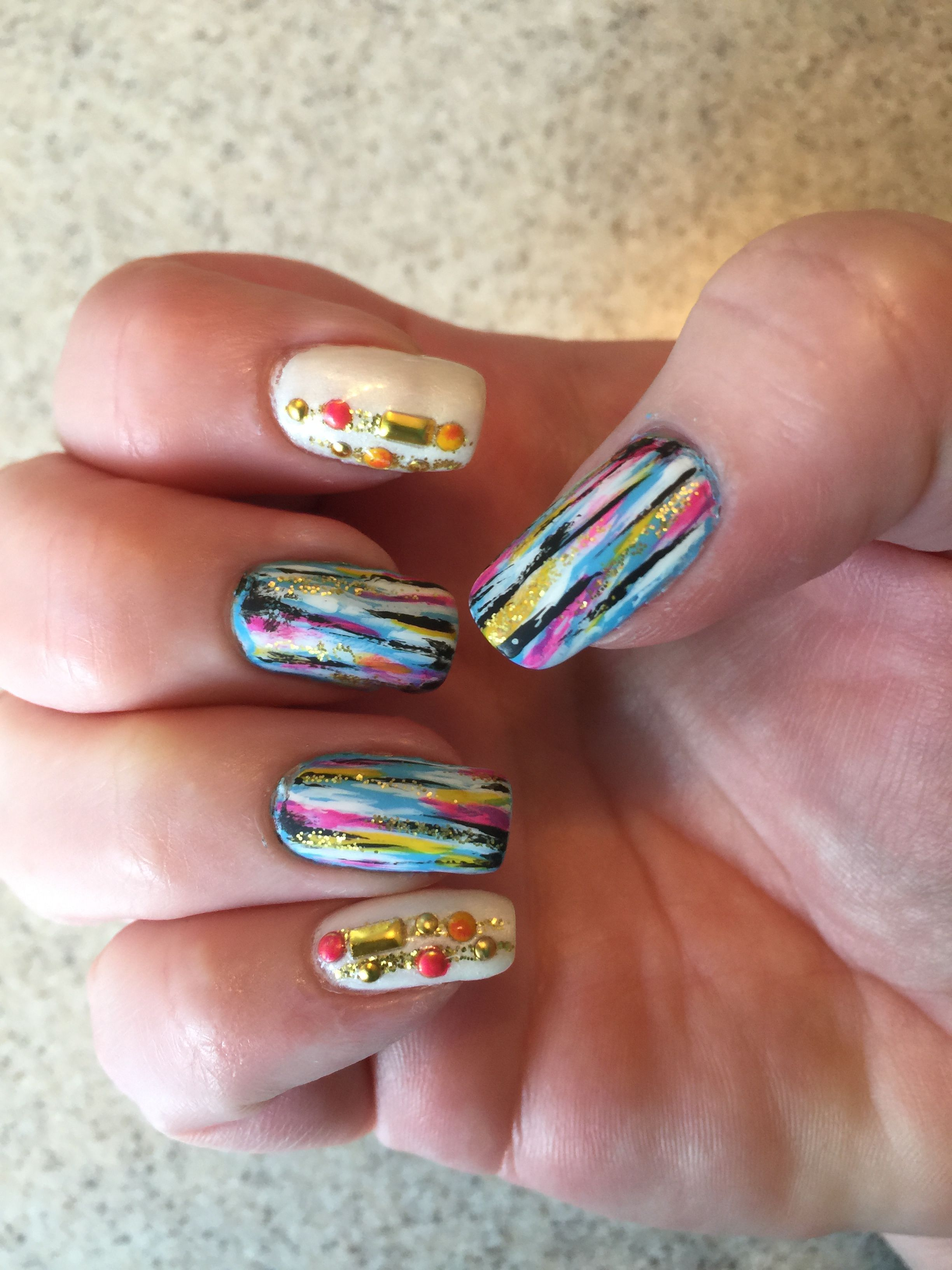 Based On Flicka Nail Arts Design Base Orly Au Champagne Color Club Stripers For