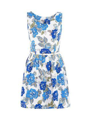 e0def4ac77 Mela White Floral Print Belted Skater Dress
