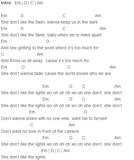 Justin Bieber She Dont Like The Lights Acoustic Chords Capo 4
