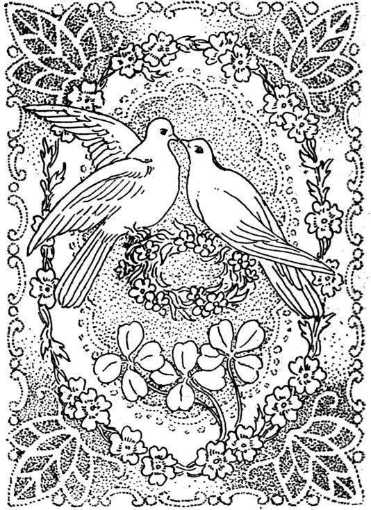 Peace and Love Coloring Pages | Doves Kissing in Peace and Love ...