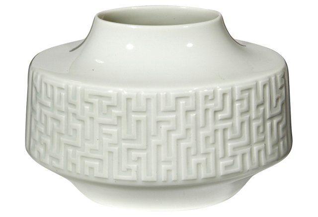 Midcentury Oval Porcelain White Vase