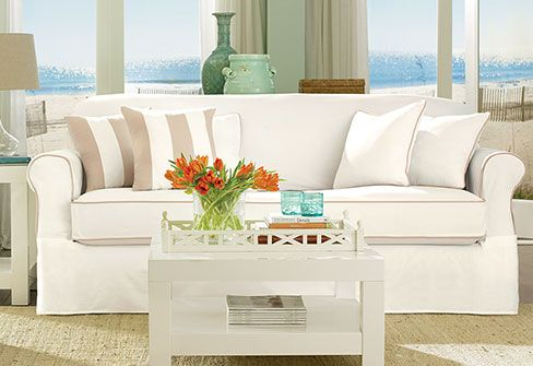 Sure Fit Slipcovers Spectator Canvas Separate Seat Slipcovers Sofa Furniture Slipcovers Slipcovers For Chairs Slipcovered Sofa