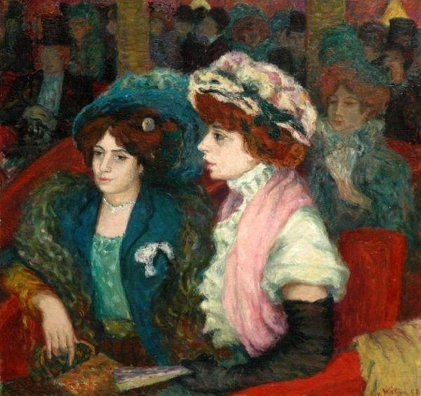 In the Theater, 1908, by Otto von Waetjen (German,1881-1942)