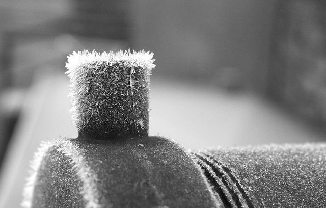 This one is one of mine ;) Frost crystals on the capped inlet pipe to my old oil tank, though my pal says it looks like a train!
